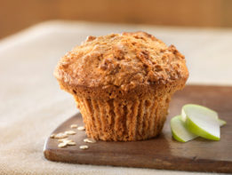 fresh baked, apple oatmeal muffin,