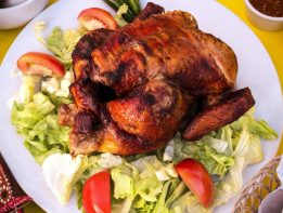 Whole roast chicken, salad, rotisserie, tomatoes, lettuce
