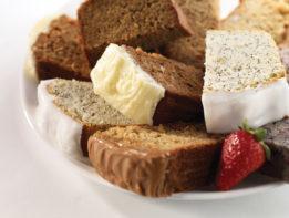 poppyseed lemon loaf, carrot cake loaf, apple maple loaf, fresh baked, dessert loaf