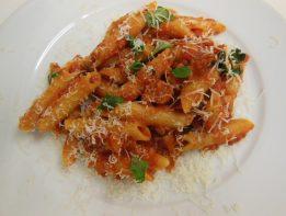 penne pasta, tomato sauce, parmesan, basil